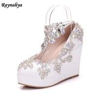 المحكمة اليدوية إمرأة سيدة منصة إسفين كعب بو الجلود مضخات الراين أحذية الزفاف الأبيض زائد حجم XY-A0036