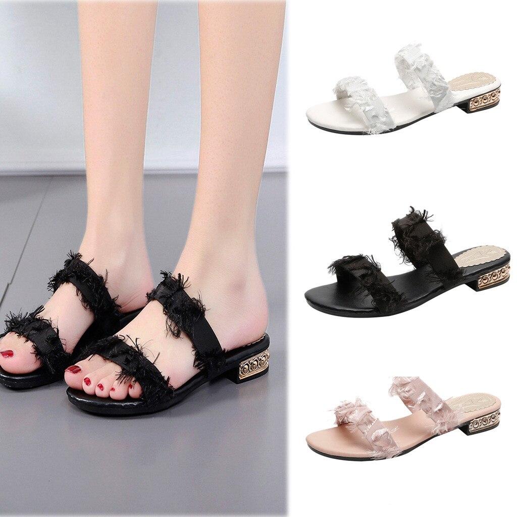 3c3a40c0f6ca Chaussures Couleur Femmes Porter De 2019 D'été Verano Mode Daa Ronde Mujer  Tête Sandales Sauvage ...