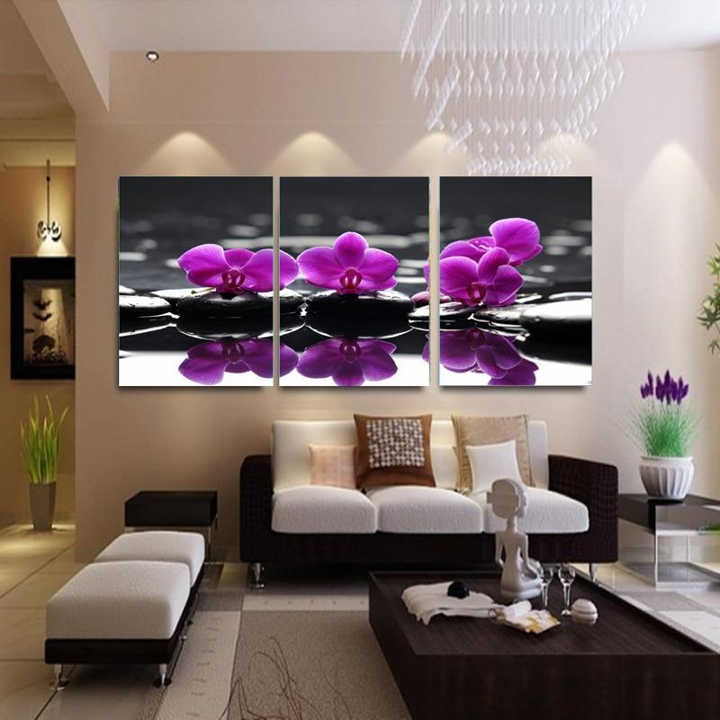 3 piece canvas painting purple flowers living room decorative pictures modern canvas prints wall - Cadre salon design ...