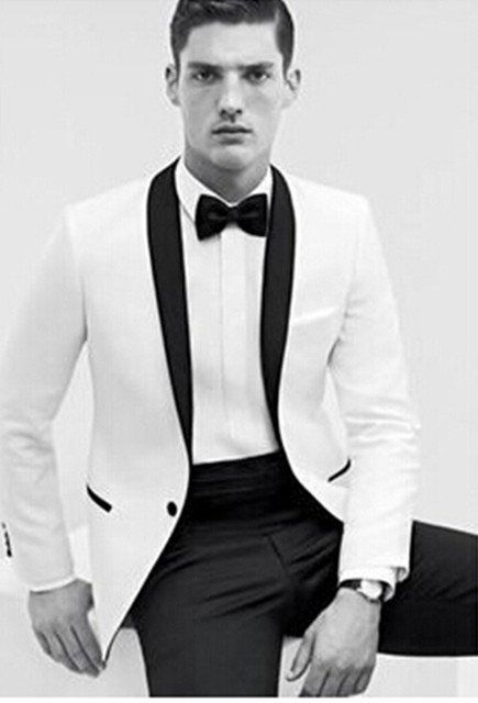 New Arrival Custom Made Groom Tuxedos White Suit Black Lapel Wedding Bridegroom Suits
