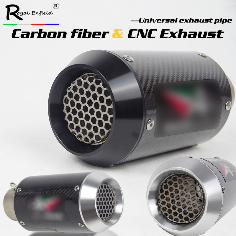 60mm Inlet universal motorcycle AR exhaust muffler with DB killer carbon fiber CNC for BMW s1000rr Yamaha R6 r1 Aprilia RSV4 ATV