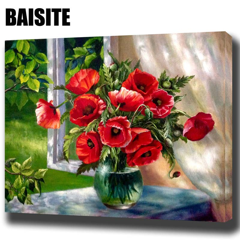 BAISITE DIY Framed Oil Painting By Numbers Red Flowers Window Pictures Canvas Painting For Living Room Wall Art Home Decor H543(China)