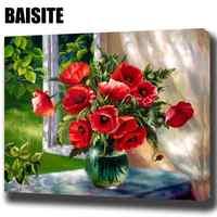 BAISITE DIY картина маслом в рамке по номерам красные цветы оконные картины холст картина для гостиной настенный Декор для дома H543