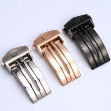 For Tiger Howe Heuer kaarlela Double Press Folding Buttons Butterfly fine steel Watch 18 20mm Male