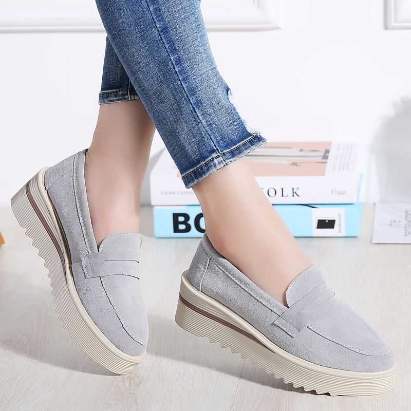 2019 Spring Women Flats Shoes Leather Platform Sneakers Casual Shoes Women Slip On Flats Loafers Ladies Shoes Mocassins Creepers