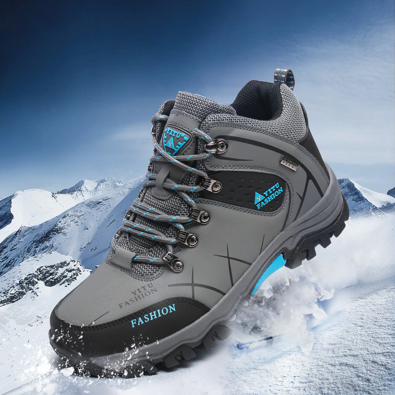 GOMNEAR Hiking Shoes Tactical Boots Winter Sneakers With Fur Waterproof Leather Shoes Men Breathable Trekking Shoes Anti-skid