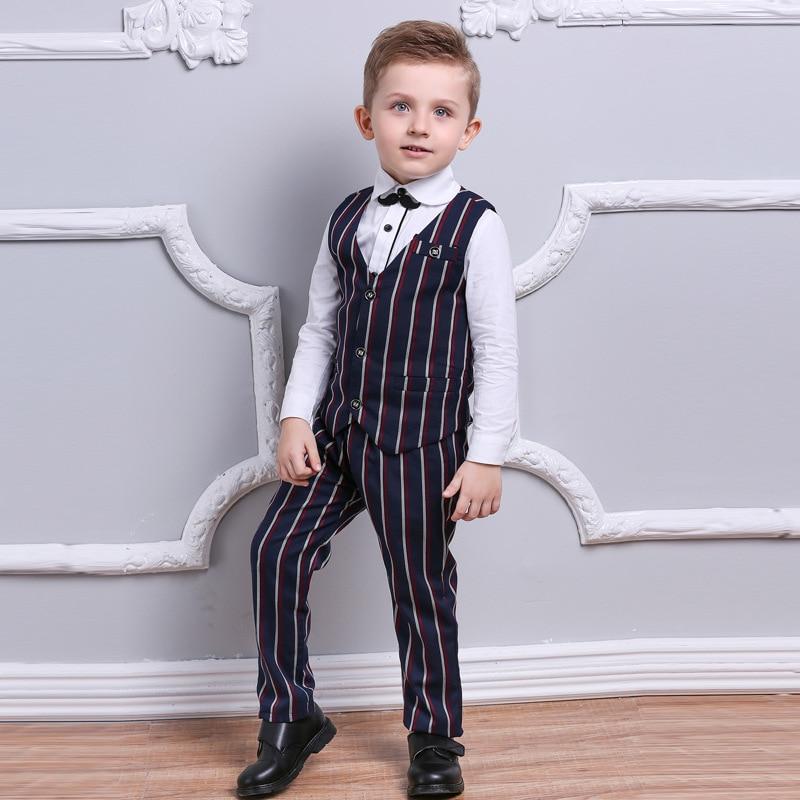 Gentleman Boys Suit 3pcs ( Striped Vest + Pants + White Shirt ) Casual Blazers Boy Clothes mikrdoo baby boy gentleman clothes set striped pants bow shirt romper suit vest fake 2 pieces turn down collar age 0 2 years
