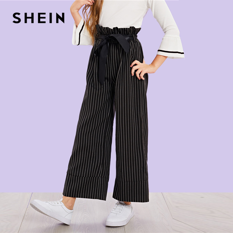 SHEIN Black Girls Vertical Striped Belted Casual Pants Girls Leggings 2019 Spring Fashion Wide Leg Pants Korean Kids Clothes solid self belted wide leg pants