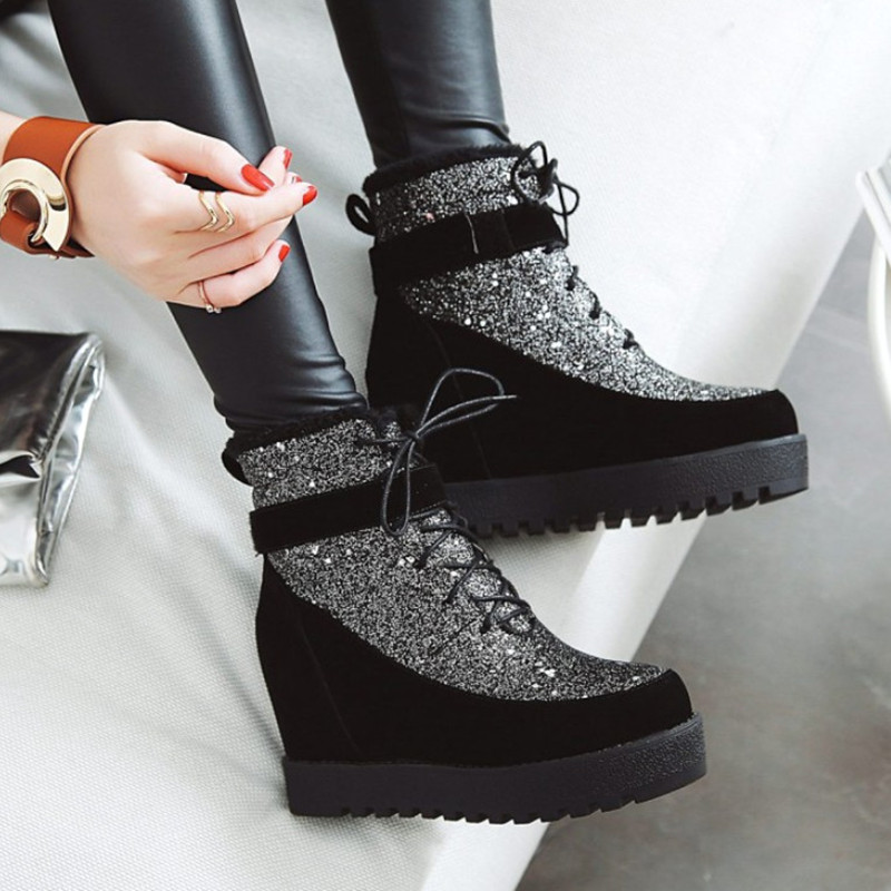 Glitter Winter Shoes Women Boots Fashion Lace Up Platform Shoes Ankle Boots For Women Warm Snow Boots Female High Heels Big Size women snow boots large size 35 45 winter boots shoes super warm plush ankle boots women platform winter boat fashion women shoes