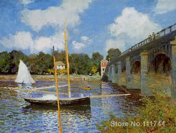 Wall art The Bridge at Argenteuil by Claude Monet oil paintings Handmade High quality