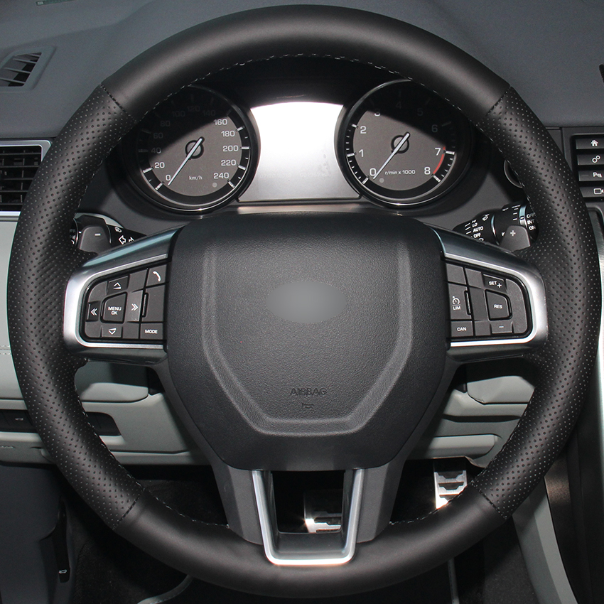 Black Natural Leather Car Steering Wheel Cover For Land