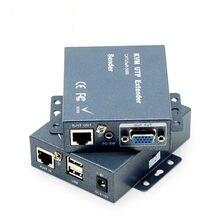 Cabo vga de super qualidade 330ft + áudio estéreo + extensor de sinal usb kvm sobre cat5 cat5e cat6 rj45 sem atraso transmissor vga da perda