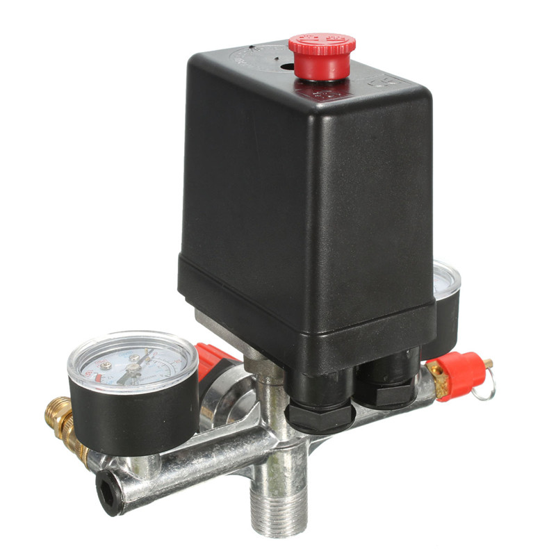 Non adjustable 125psi 2 Phase Compressor Pressure Switch Air Valve Gauge Control Relief 230V 1 port 120psi air compressor pressure valve switch manifold relief regulator gauges