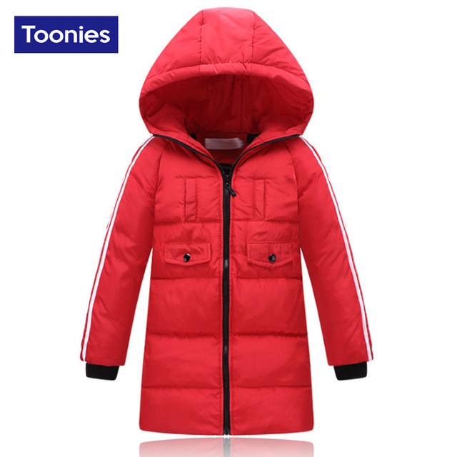 2017 Children Hooded Long Down jacket Winter Warm Thickening  Boys And Girls Slim Down Jacket Coat