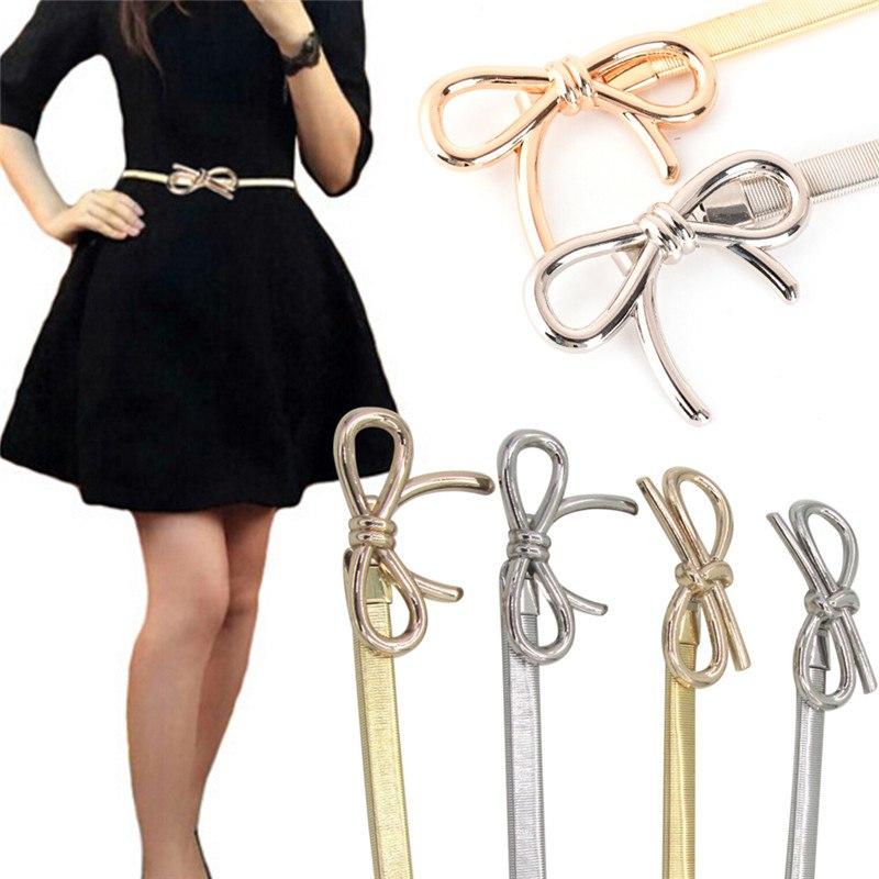 Hot Women Belt Metal Bow Design Clasp Front Stretch Elastic Waist Dress Belt Strap Waistband Waist Belt Skinny Elastic Ceinture