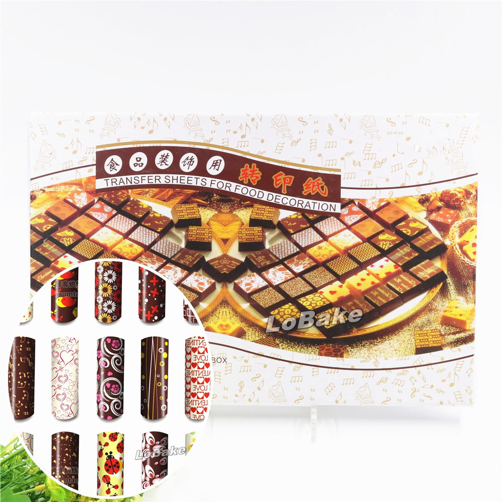 50pcs set New many different colors chocolate transfer sheet colorful chocolat painting print mat for