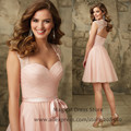 Pink Black Lace Short Bridesmaid Dress for Wedding Party Peat Vestido Para Madrinha Knee Length 2016 Abiti Damigella B2471