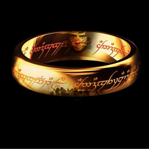 Classic Men Women LOTR 18Kt Gold GP Wedding Band Ring Pendant Width 6mm Size 6-11 Gift Free shipping