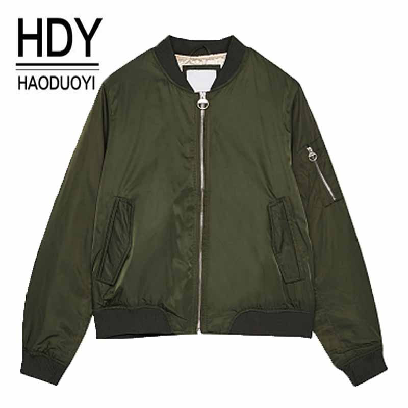 2017 HaoDuoYi Women Casual Basic Jackets  Green Black Zipper Ruffles Pockets Female Biker Basic Coats Lady Outwears S-XXL