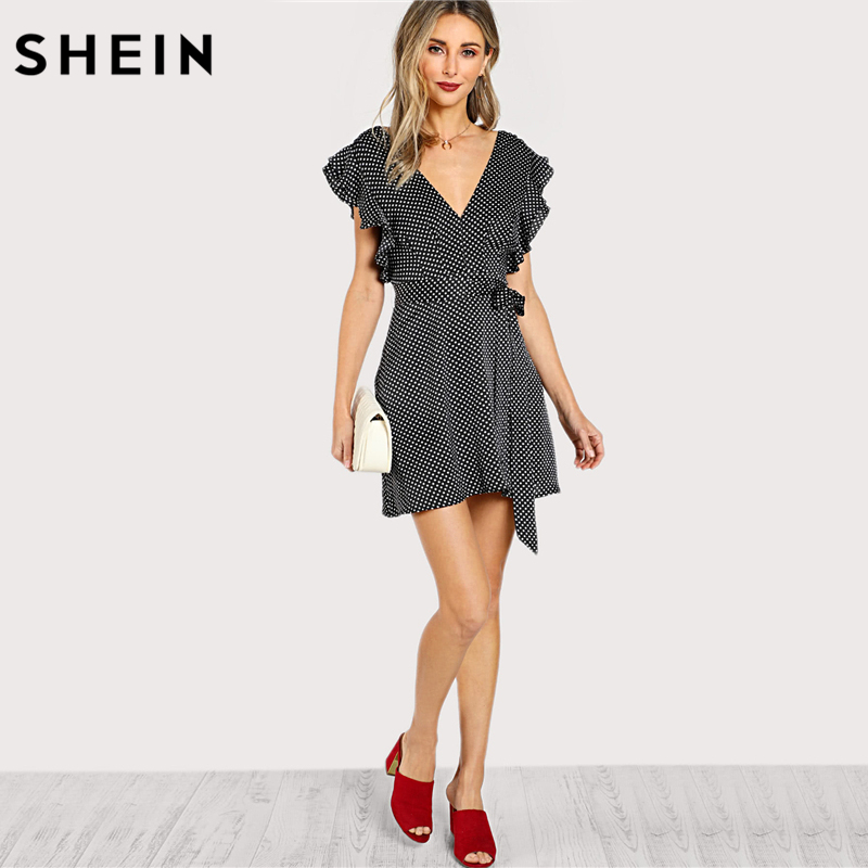 3ce117dad7 SHEIN Butterfly Sleeve Surplice Wrap Dress Elegant 2018 Summer Dress Black  and White Polka Dot Cap Sleeve V Neck A Line Dress-in Dresses from Women s  ...