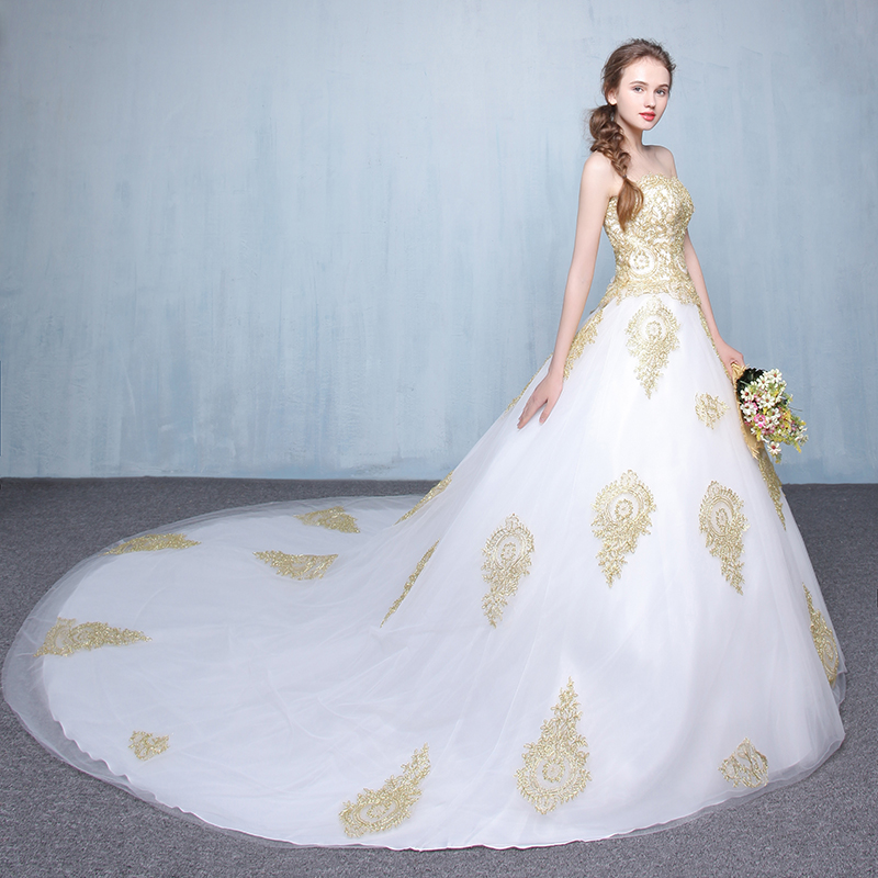 Gothic Wedding Gowns Vintage Plus Size Gold Ivory Puffy