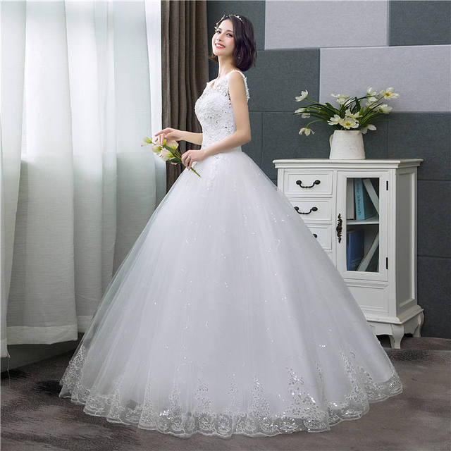 It's YiiYa New V-neck Wedding Dresses Simple Off White Sequined Cheap Wedding Gown De Novia HS288 1