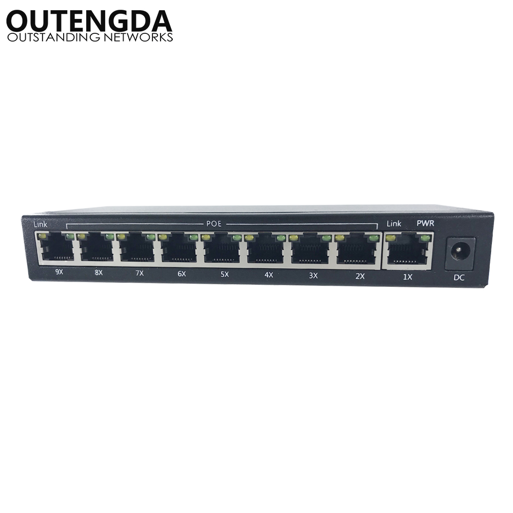 8+1 ports 10/100M POE Switch 12~15~24V poe network switch with 8 poe ports 1 uplink for Wireless AP, IP cameras etc