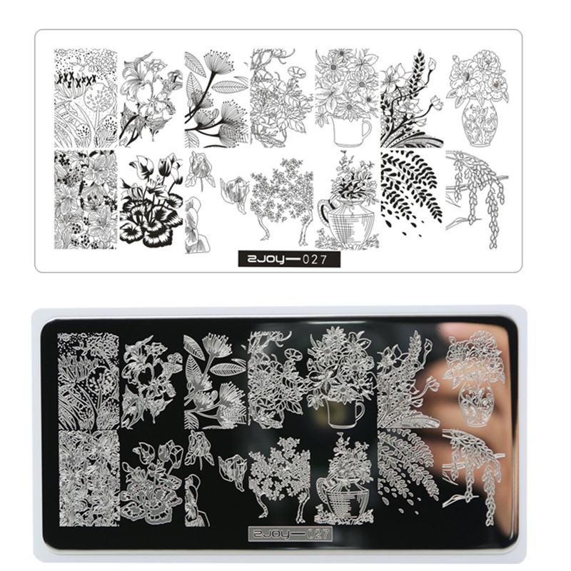 ZJOY Negative Space Leaves Flowers  Nail Paltes Nail Art Stamp Template 1Pcs Set 12.5*6.5cm Rectangle DIY Nail Art Kits Template