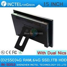 15 дюймов Промышленный Компьютер All in one PC с 5 провод Gtouch 4: 3 6COM LPT LED touch 4 Г RAM 64 Г HDD SSD 1 ТБ Двойной 1000 Мбит/С Сетевых Карт