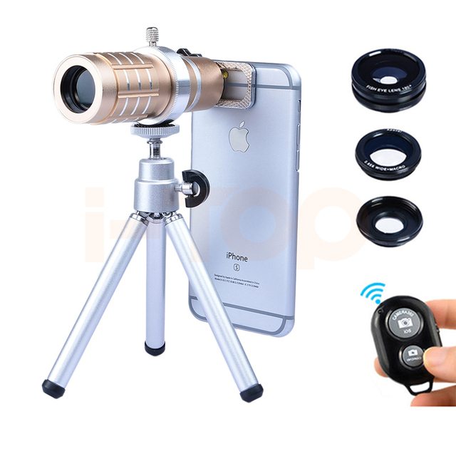2017 Camera Lenses kit 12x Zoom TelephotoTelescope Lentes Fisheye Wide Angle Macro lens Bluetooth control  For iPhone Cell Phone