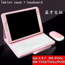 Extraíble teclado inalámbrico bluetooth soporte de la pu cubierta de cuero de case para samsung galaxy tab a 9.7 t550 t555 t551 tablet