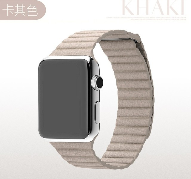 milanese loop watch band for apple watch leather loop 42mm strap Original genuine leather watchband For iwatch magnetic band
