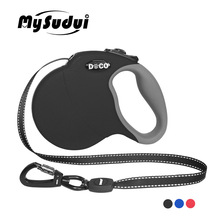 MySudui 4M 5M Retractable Dog Leash Automatic Extending Reflective Nylon Leads Big For Large