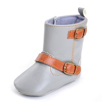 Baby Girl Shoes Classic Cowboy Boots PU Leather Buckle Soft Soled Baby Girl Winter Boots Snow