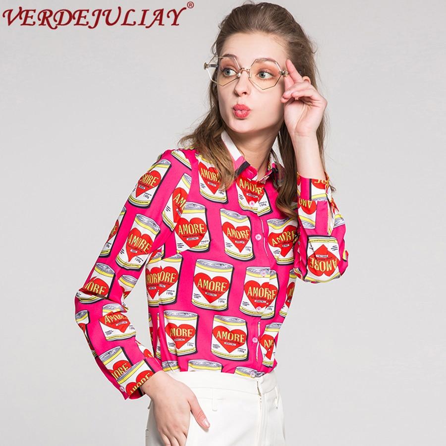 Calle OL blusas 2019 nueva primavera nueva moda Collar único Breasted fucsia mujeres conservas impresión diseñado blusa