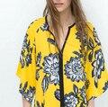 2015 za women elegant digital floral print loose kimono blouse vintage chiffon casual cheap shirt blusas clothing tops