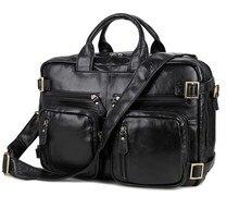 Business Cowhide Real Genuine Leather Bag Men Briefcase Multi Pockets Men Messenger Bags Handbag Laptop Shoulder Bags #VP-J7026