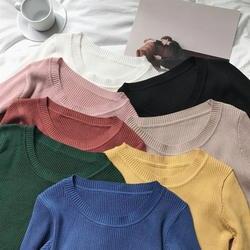 Свитер женский пуловер тонкий с круглым вырезом теплые свитера трикотажные корейский джемпер модная женская одежда pull femme poleras sueter 2019