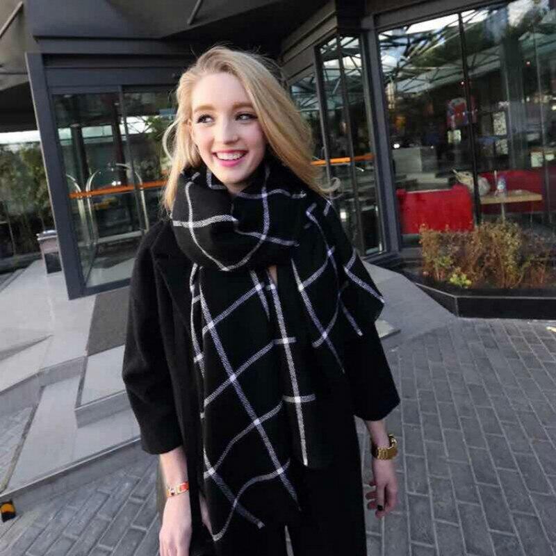 Cheshanf Women Plaid Scarf 2019 Black Red Warm Scarf Women Winter Scarves Shawls Stoles Blanket Scarf Luxury Brand