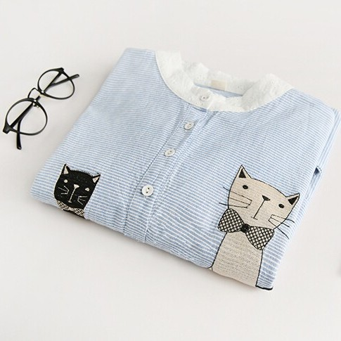 Women's Clothing Hospitable Sky Blue Striped Cat Mon And Baby Kitty Embroidery Kawaii Shirt Blouse Autumn Female