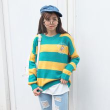 Harajuku Korean Women Candy Color Stripe Cartoon Embroidery Loose Sweater Female Kawaii Cute Retro Knitted Jumper