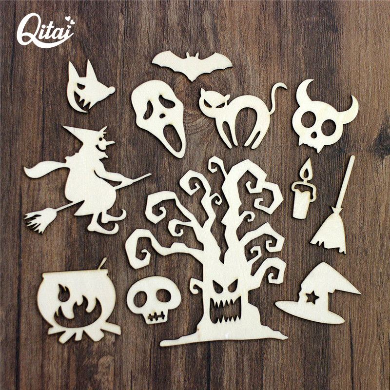 QITAI 33Pcs/lot All kinds of Halloween Wooden Embellishment Set Wood DIY Craft Handicraft Home Decoration Figurines WF293