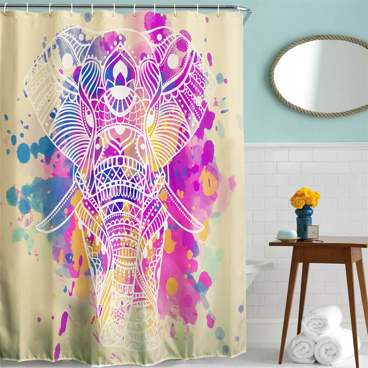 Colorido Elefante Baño Cortina de Ducha de poliéster Panel Pura Ganchos Set Home