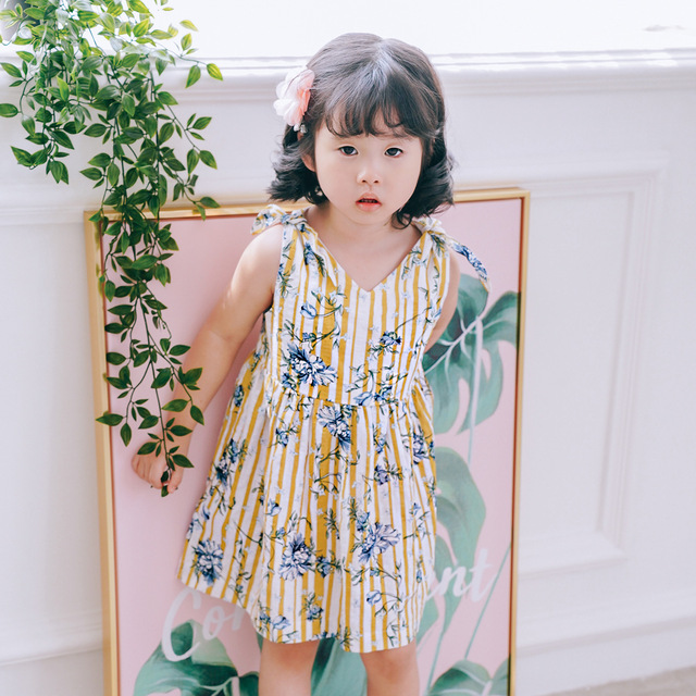 03f1e461ee9a Baby Girl Dress 2018 Summer Little Girl Princess Dress Flowers Print Cute  Party and Wdding Dresses Fashion Beach Dress for Girls