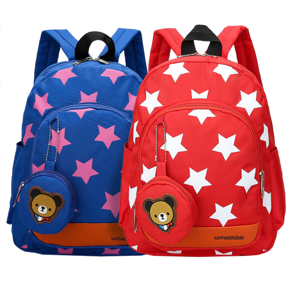 Backpack Kindergarten Stars Printing Cartoon Bear Shoulder Pack