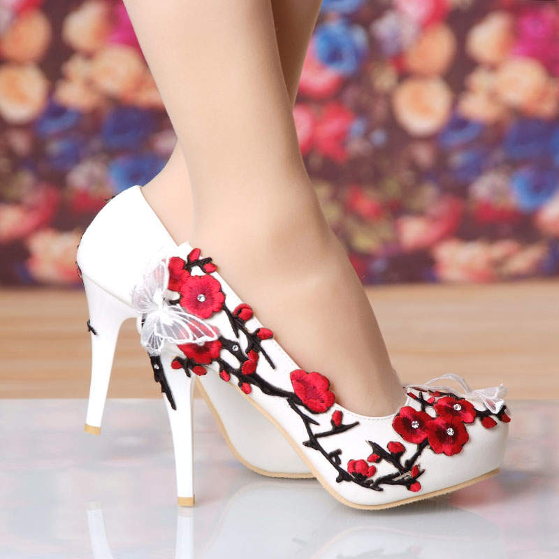 Spring new waterproof table wedding shoes bride shoes lace embroidered butterfly water drill shoes wedding shoes