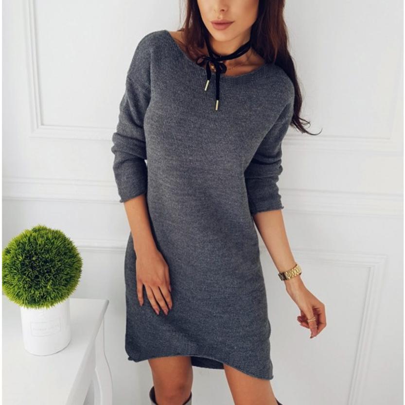MUQGEW Autumn Dress Fashion Women Solid O-Neck Sweater Long Shirt Casual Long Sleeve Pullove Dress Sexy Dress Sweater Dress