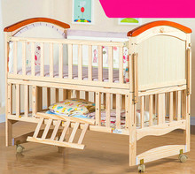 Solid wood variable desk children bed multifunctional white color baby cradle bed baby bed