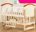Твердая древесина переменная стол детская кроватка многофункциональный белый цвет детская кроватка кровать детская кровать
