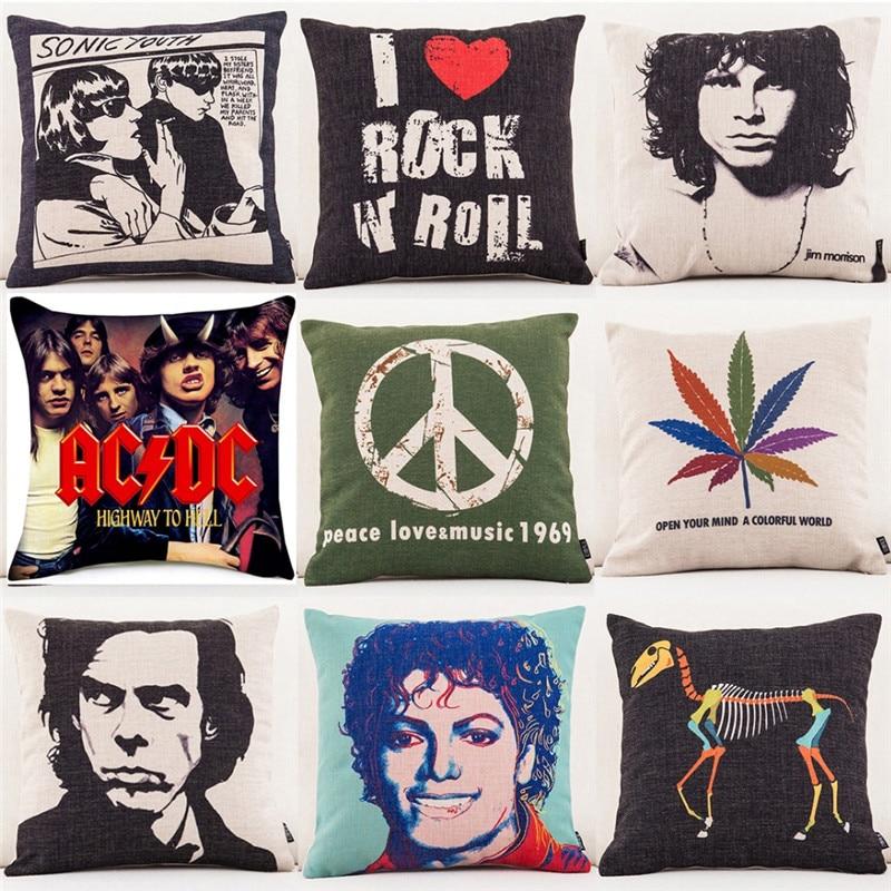 Super Star Peace Love& Music 1969 Cushion Cover Rock & Roll Home Decor Pillow Case Cojines Decorativos Para Sofa Pillow Cover
